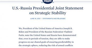 美俄峰会后发表《战略性稳定联合声明》 强调降低战争风险